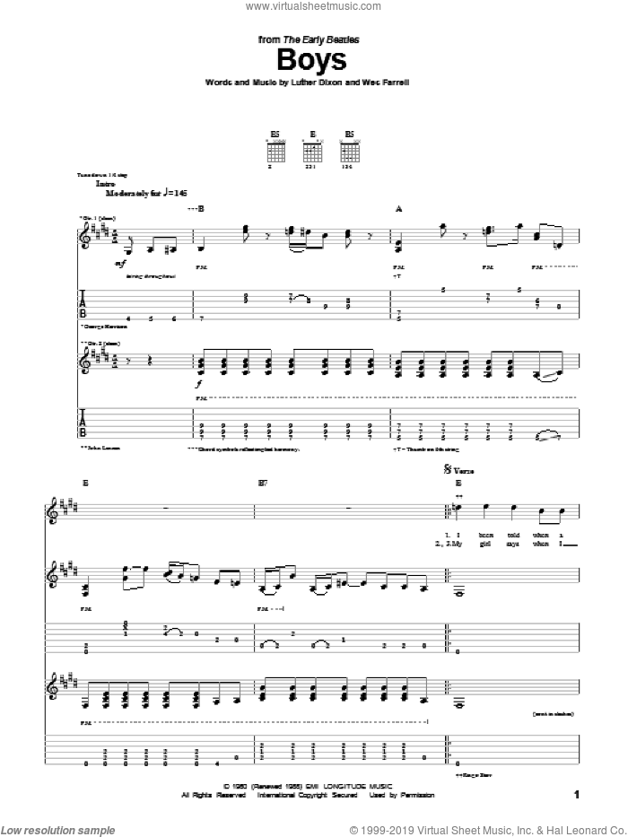 Boys sheet music for guitar (tablature) by The Beatles, Luther Dixon and Wes Farrell, intermediate