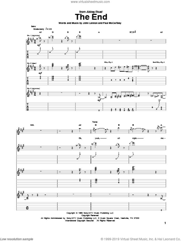 The End sheet music for guitar (tablature) by The Beatles, John Lennon and Paul McCartney. Score Image Preview.