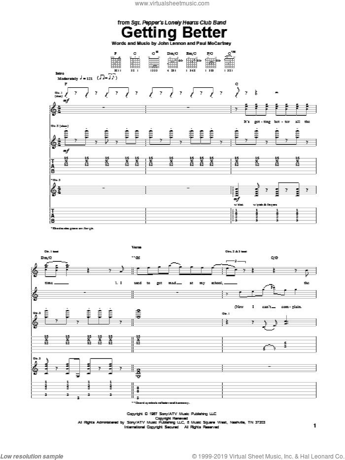 Getting Better sheet music for guitar (tablature) by Paul McCartney, The Beatles and John Lennon. Score Image Preview.