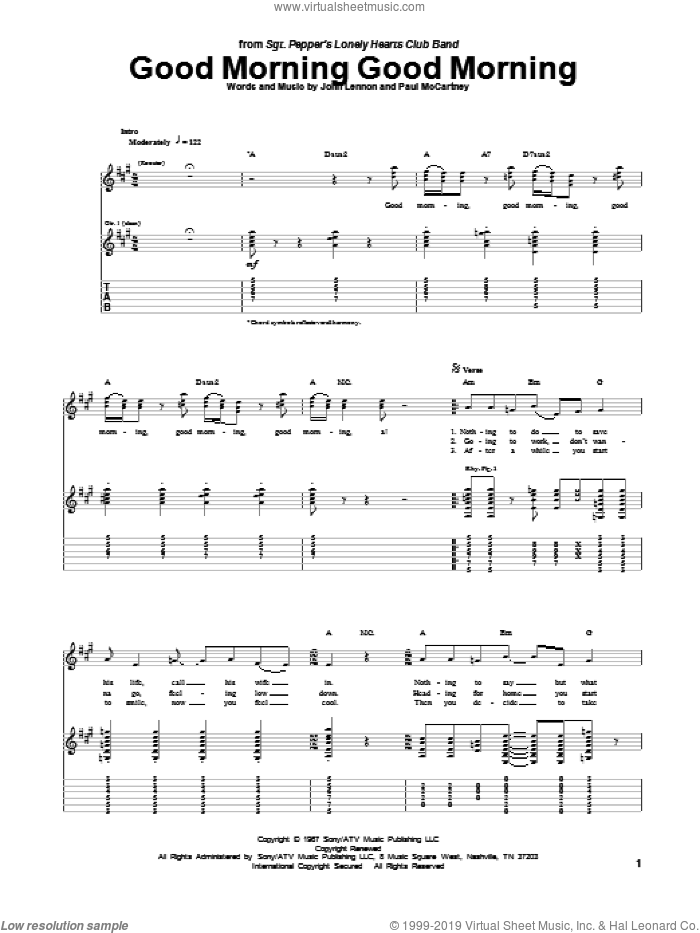 Good Morning Good Morning sheet music for guitar (tablature) by The Beatles, John Lennon and Paul McCartney, intermediate. Score Image Preview.