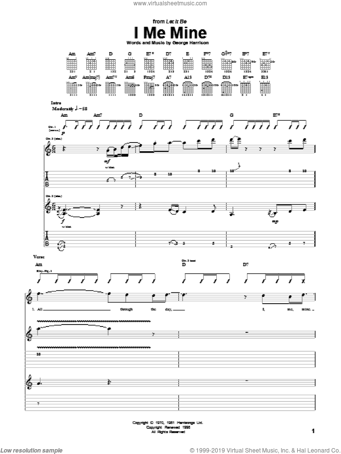 I Me Mine sheet music for guitar (tablature) by The Beatles and George Harrison, intermediate guitar (tablature). Score Image Preview.