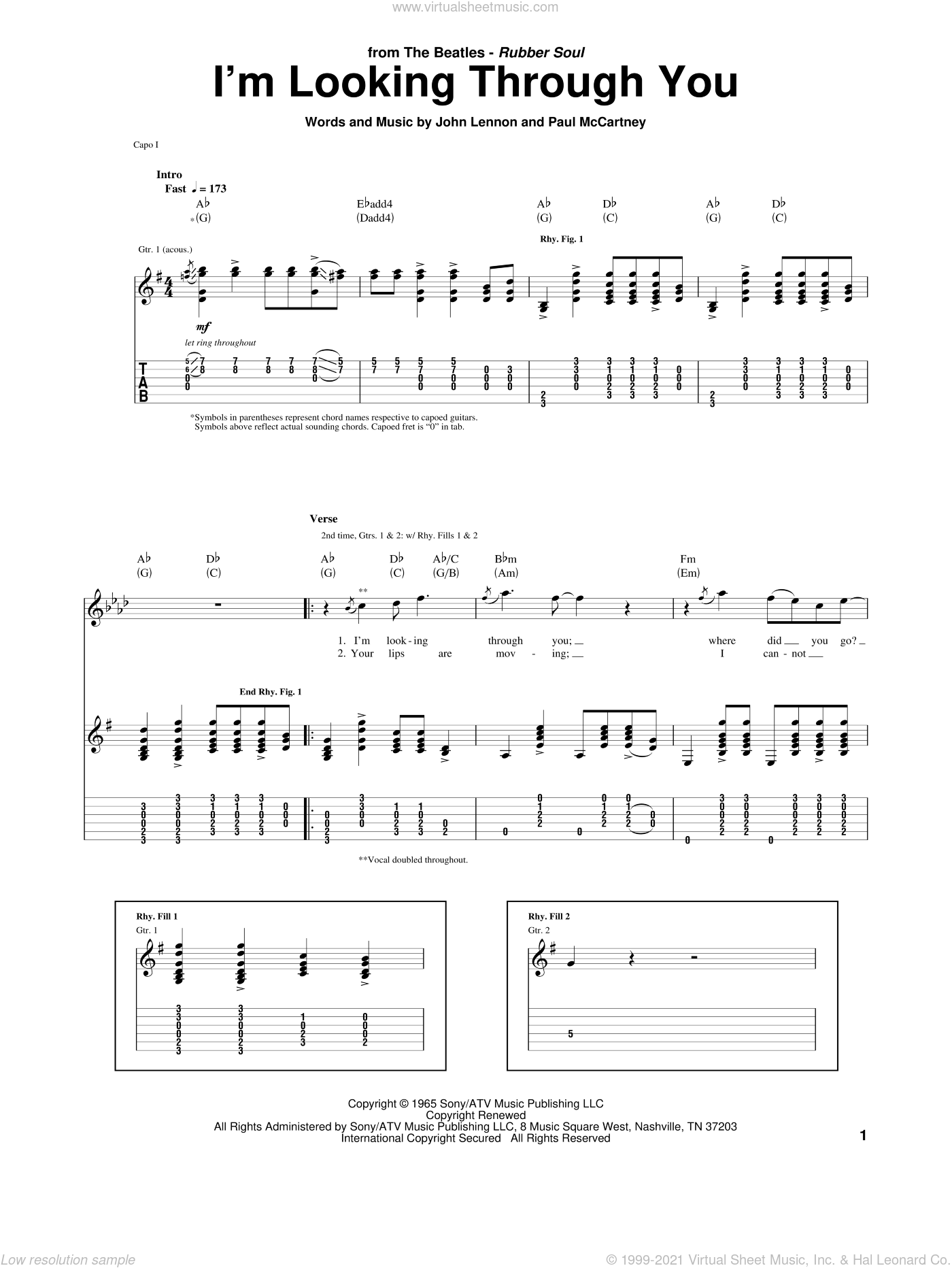 I'm Looking Through You sheet music for guitar (tablature) by The Beatles, John Lennon and Paul McCartney, intermediate. Score Image Preview.