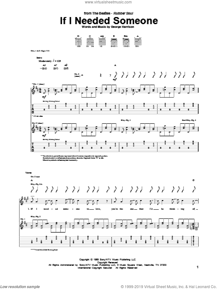 If I Needed Someone sheet music for guitar (tablature) by The Beatles and George Harrison, intermediate skill level