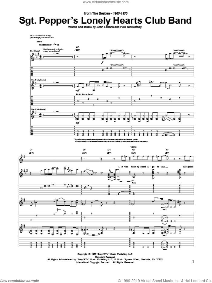 Sgt. Pepper's Lonely Hearts Club Band sheet music for guitar (tablature) by The Beatles, John Lennon and Paul McCartney, intermediate skill level