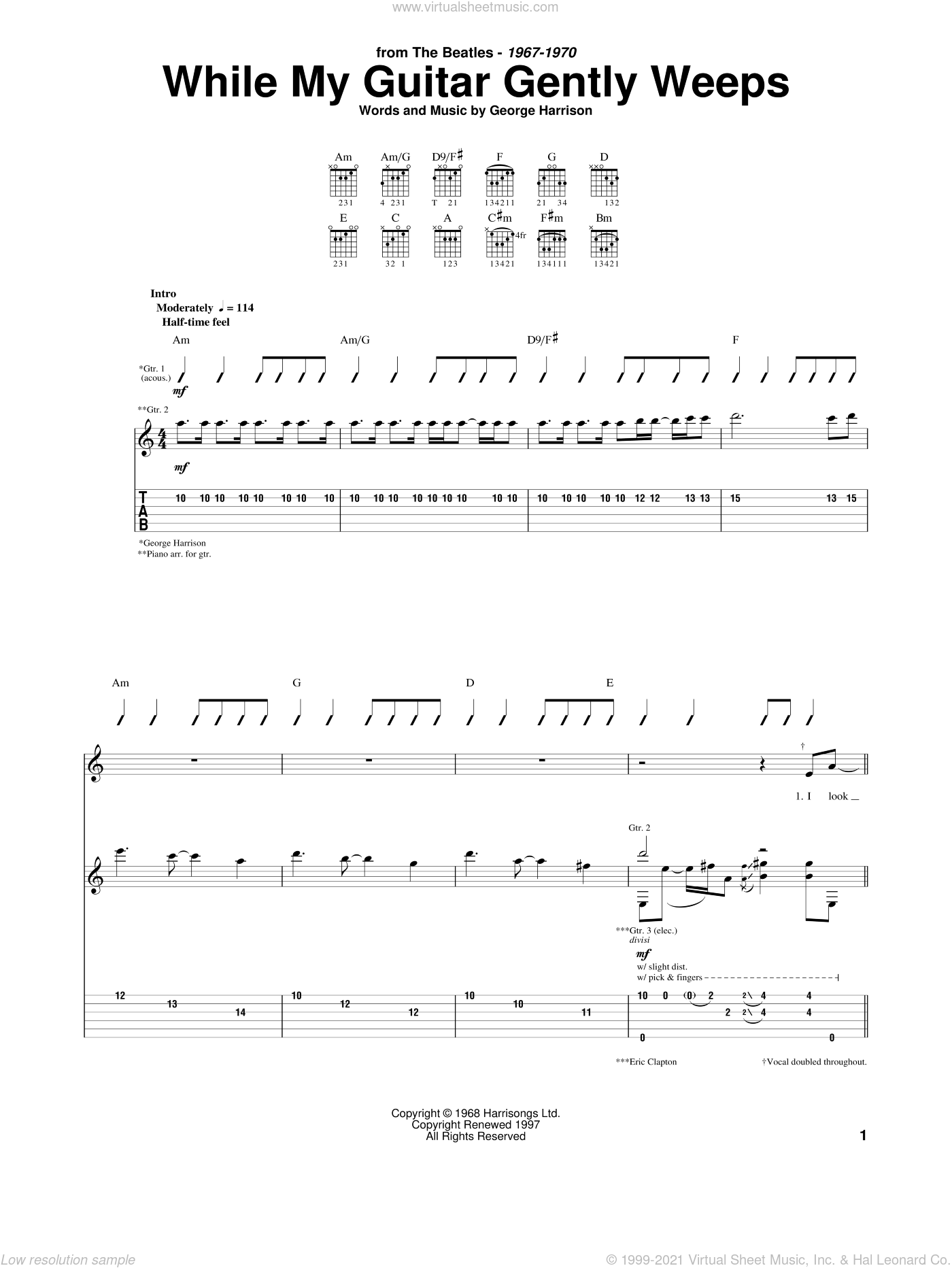 While My Guitar Gently Weeps sheet music for guitar (tablature) by The Beatles and George Harrison, intermediate skill level