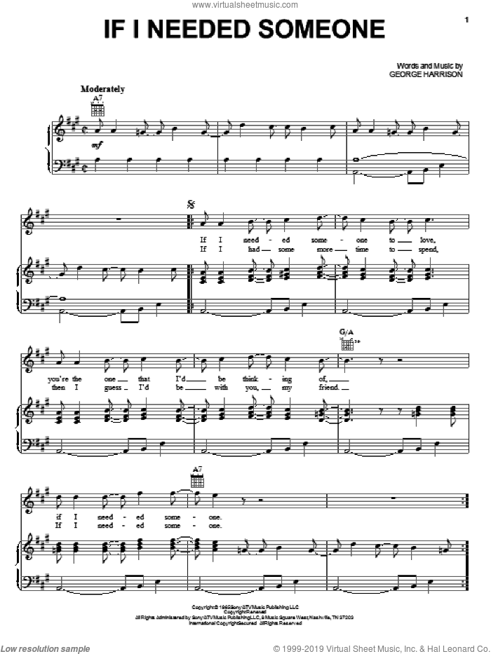 If I Needed Someone sheet music for voice, piano or guitar by The Beatles and George Harrison, intermediate skill level
