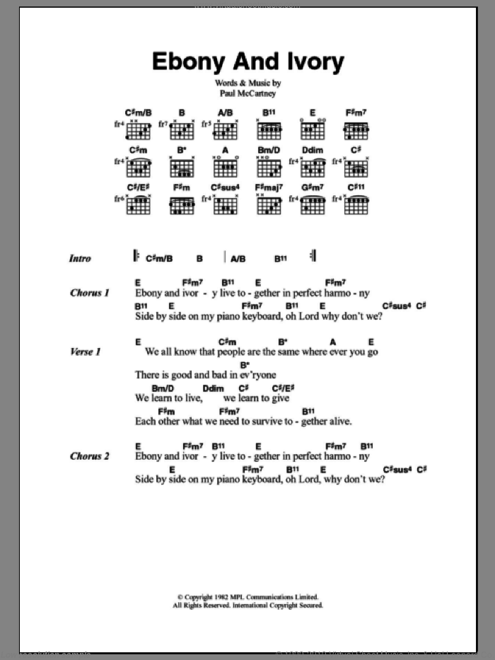 Wonder - Ebony And Ivory sheet music for guitar (chords) [PDF]
