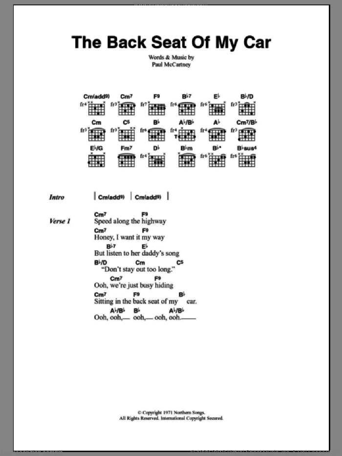 The Back Seat Of My Car sheet music for guitar (chords) by Paul McCartney. Score Image Preview.