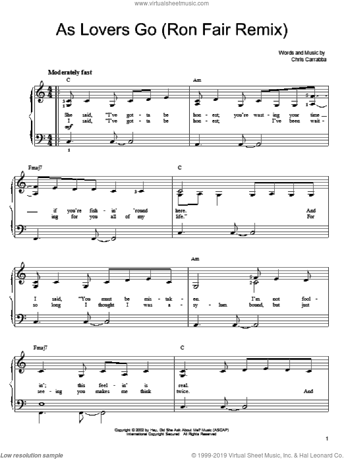 As Lovers Go sheet music for piano solo by Dashboard Confessional, Shrek 2 (Movie) and Chris Carrabba, easy skill level