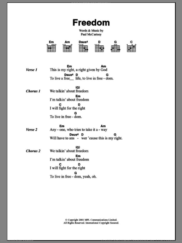Freedom sheet music for guitar (chords) by Paul McCartney, intermediate skill level