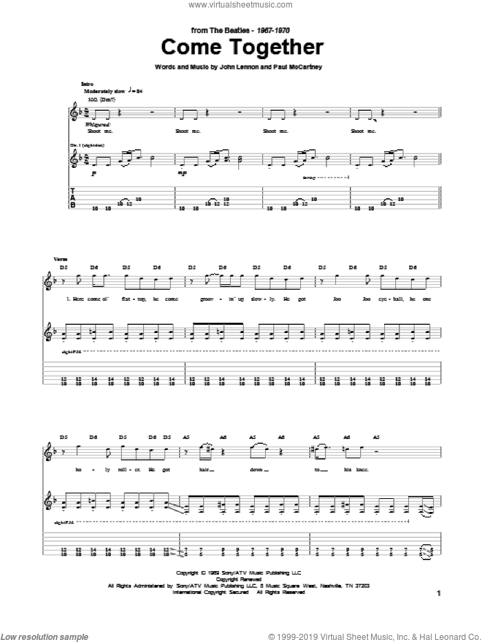Come Together sheet music for guitar (tablature) by Paul McCartney, The Beatles and John Lennon. Score Image Preview.