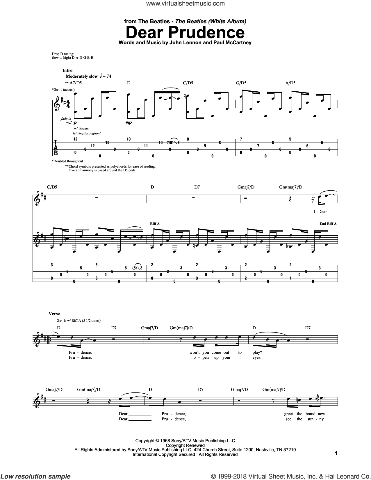 Dear Prudence sheet music for guitar (tablature) by Paul McCartney, The Beatles and John Lennon. Score Image Preview.