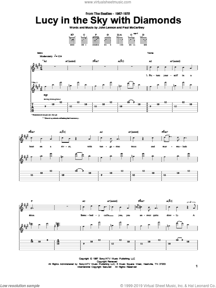 Lucy In The Sky With Diamonds sheet music for guitar (tablature) by The Beatles, John Lennon and Paul McCartney, intermediate