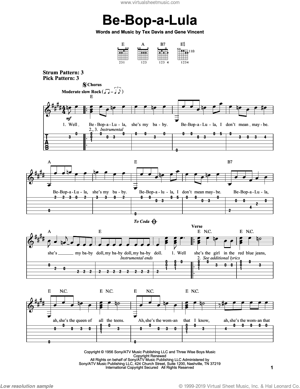 Be-Bop-A-Lula sheet music for guitar solo (easy tablature) by Gene Vincent and Tex Davis, easy guitar (easy tablature)