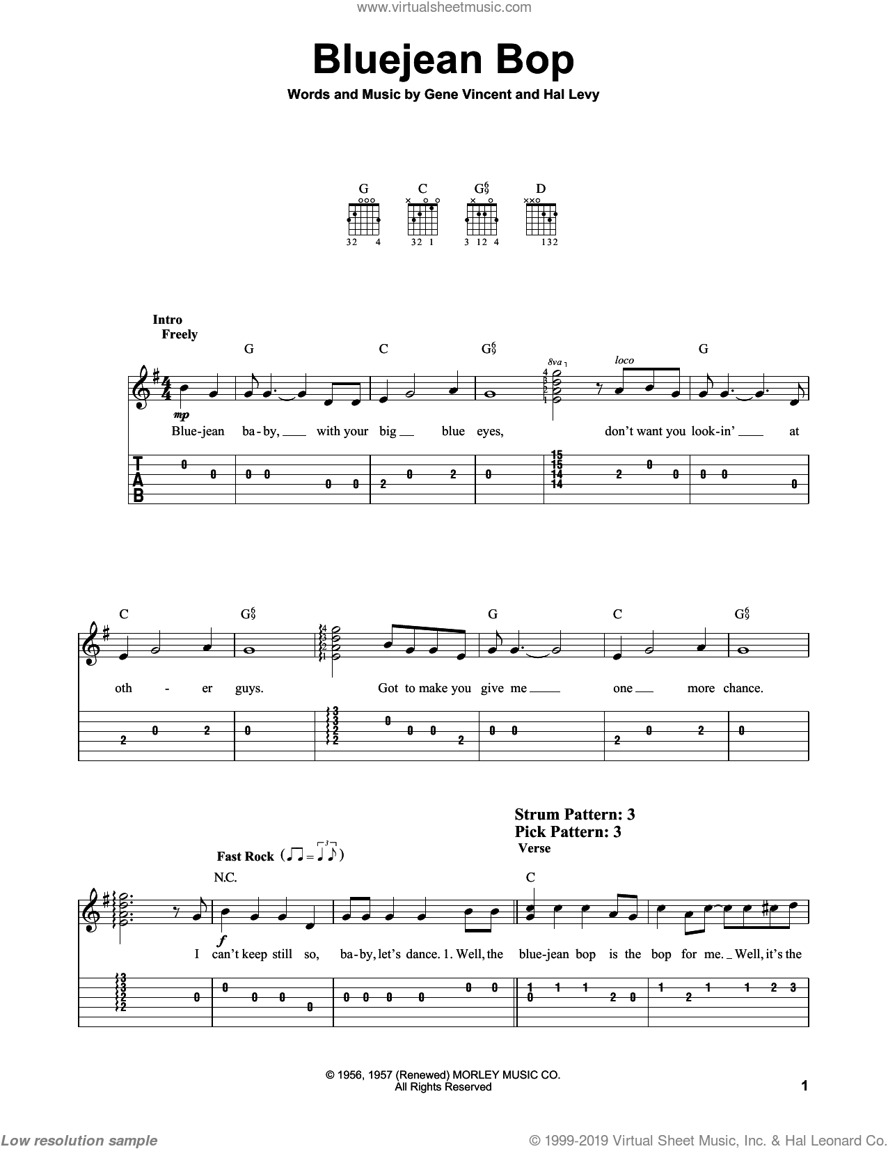 Bluejean Bop sheet music for guitar solo (easy tablature) by Gene Vincent and Hal Levy, easy guitar (easy tablature)