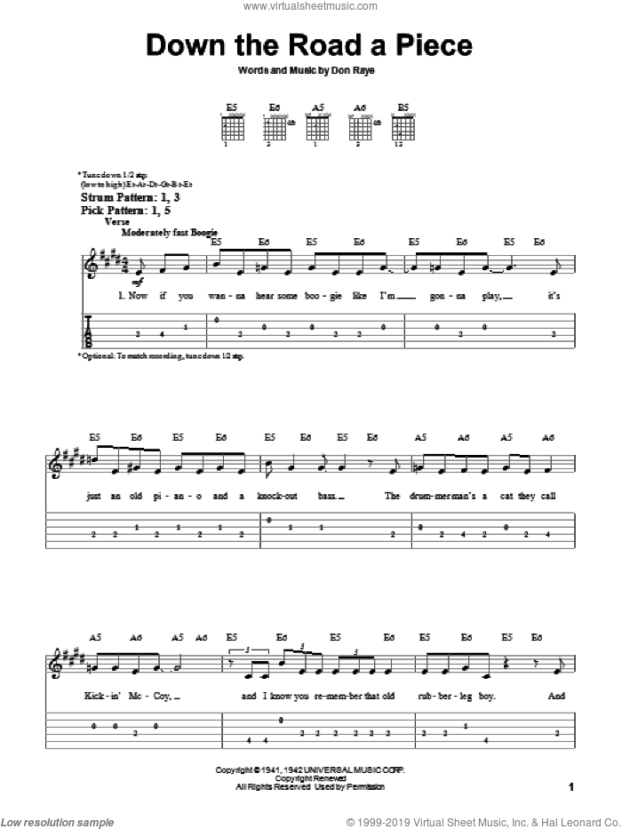 Down The Road A Piece sheet music for guitar solo (easy tablature) by Chuck Berry and Don Raye, easy guitar (easy tablature). Score Image Preview.
