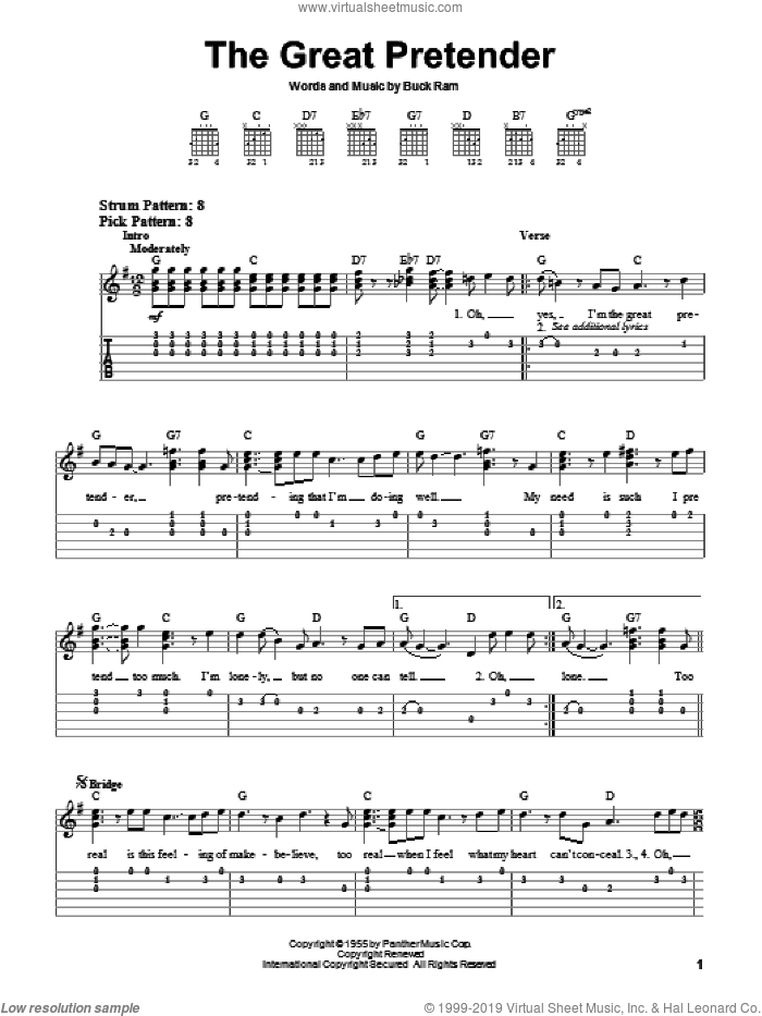 The Great Pretender sheet music for guitar solo (easy tablature) by Buck Ram and The Platters. Score Image Preview.