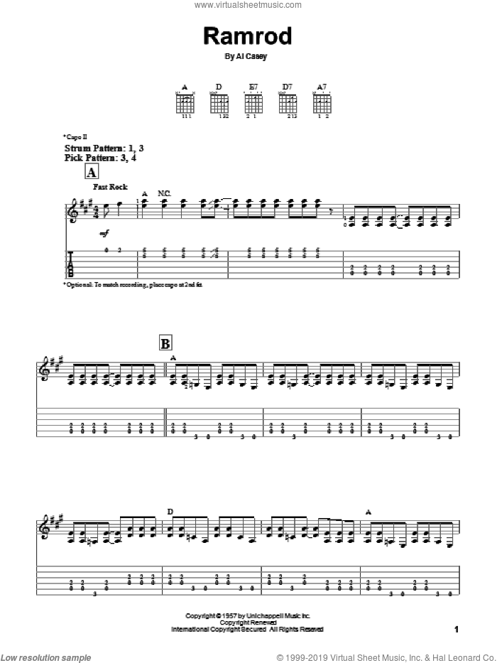 Ramrod sheet music for guitar solo (easy tablature) by Al Casey and Duane Eddy. Score Image Preview.