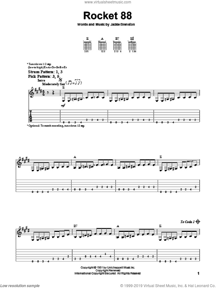 Rocket 88 sheet music for guitar solo (easy tablature) by Jackie Brenston, easy guitar (easy tablature)