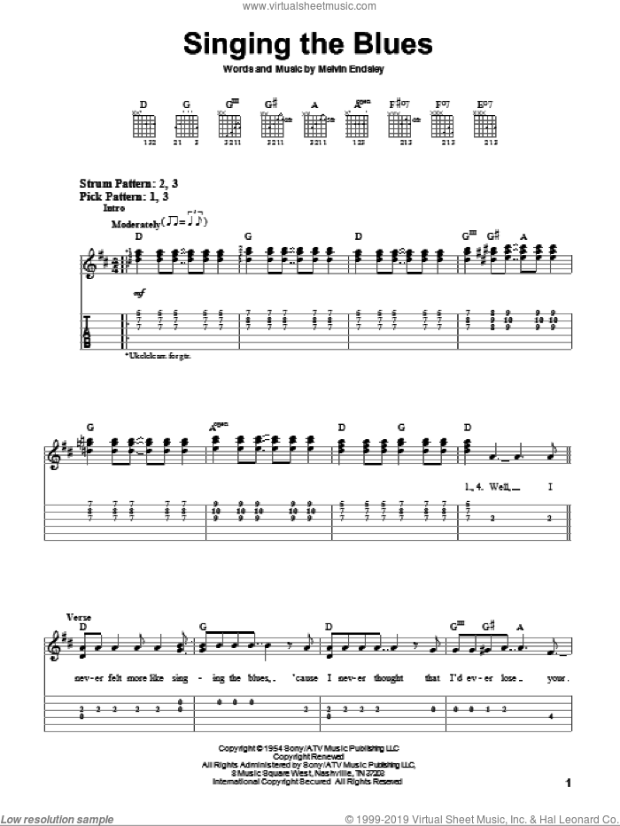 Singing The Blues sheet music for guitar solo (easy tablature) by Melvin Endsley