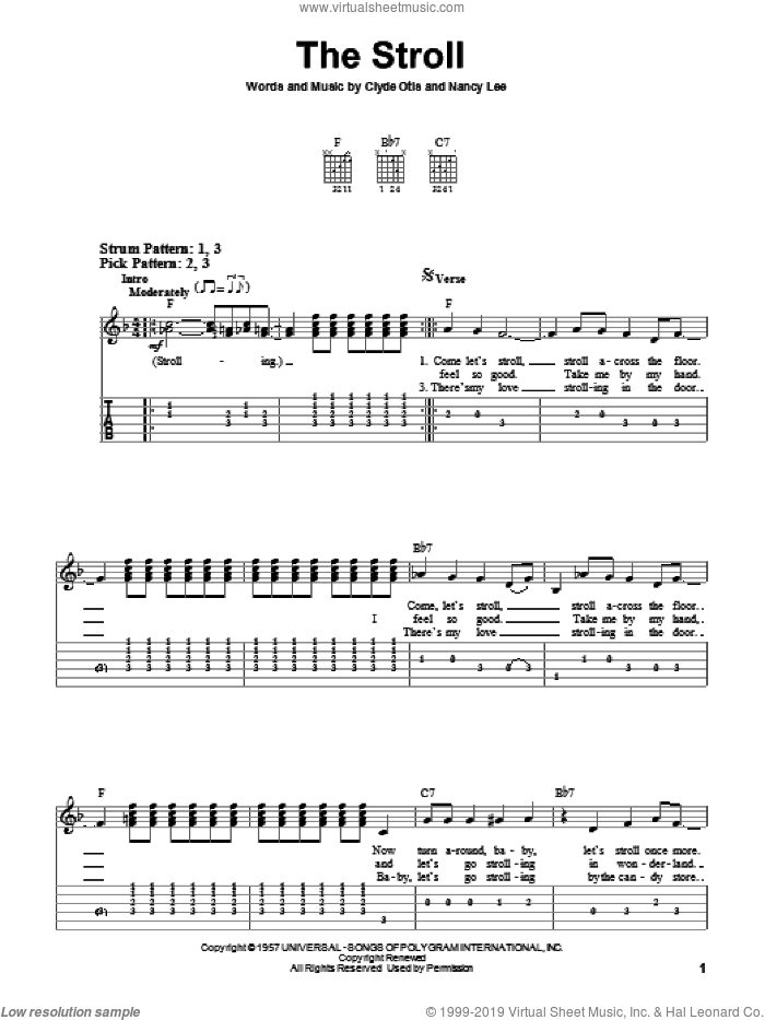 The Stroll sheet music for guitar solo (easy tablature) by The Diamonds and Clyde Otis, easy guitar (easy tablature). Score Image Preview.