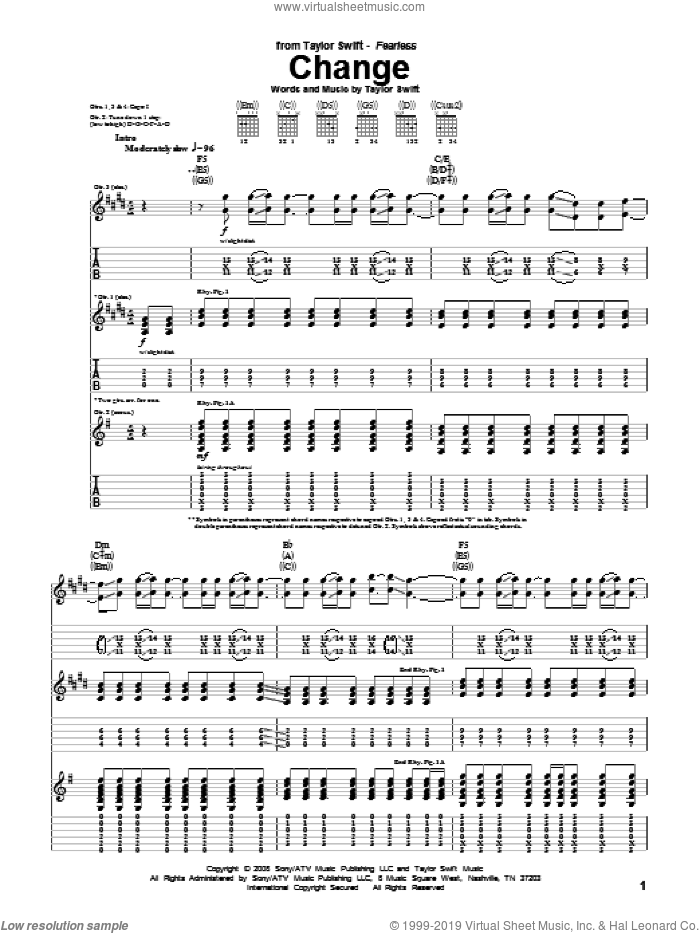 Change sheet music for guitar (tablature) by Taylor Swift, intermediate skill level