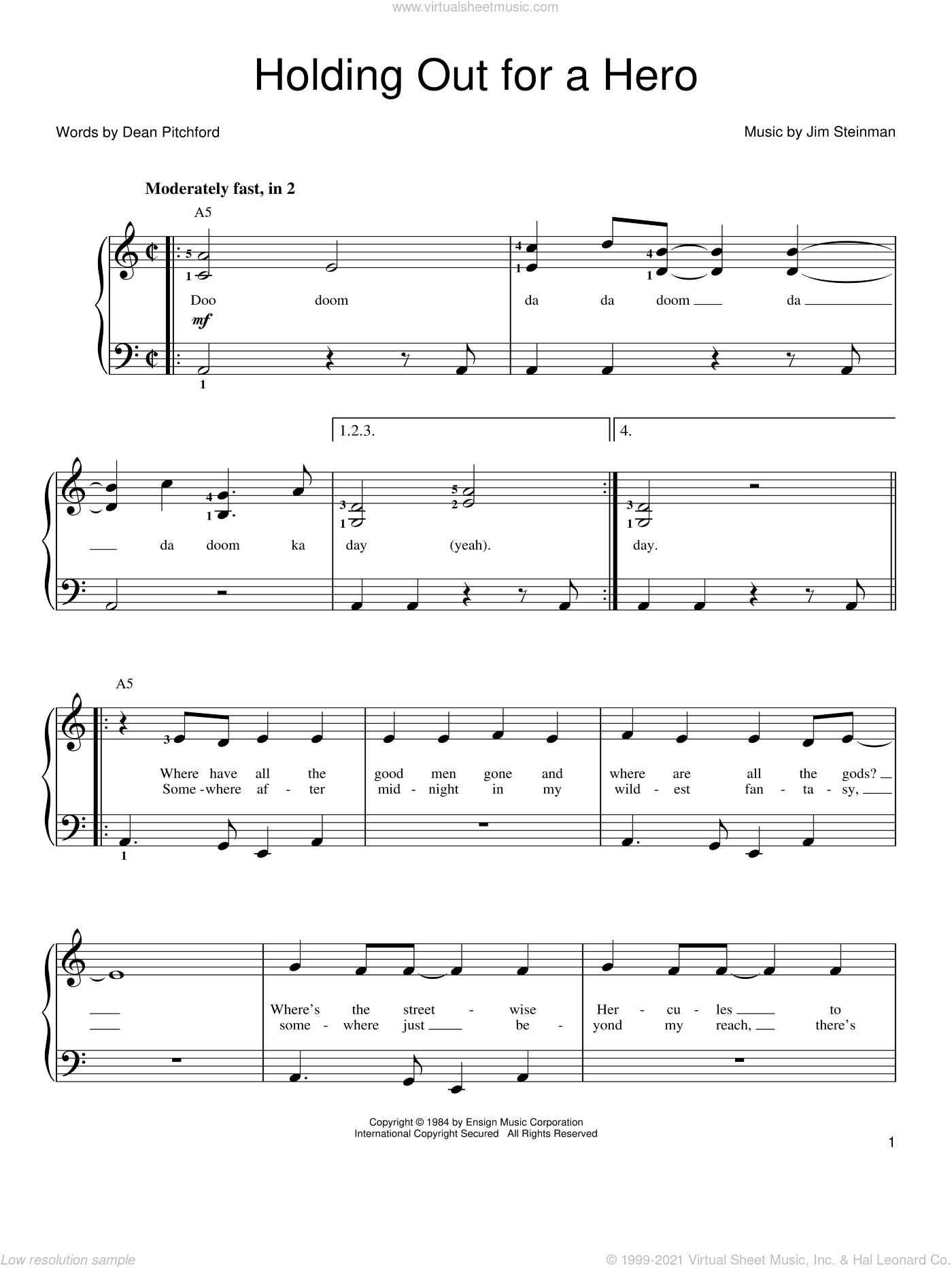 Holding Out For A Hero sheet music for piano solo by Bonnie Tyler, Footloose (Movie), Frou Frou, Dean Pitchford and Jim Steinman, easy skill level