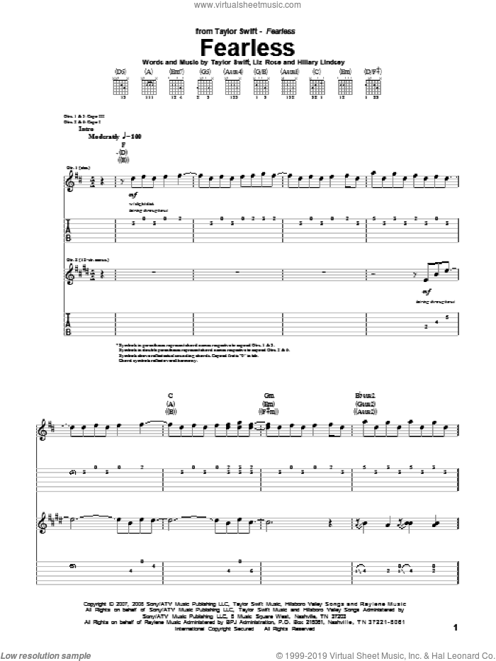 Fearless sheet music for guitar (tablature) by Liz Rose, Hillary Lindsey and Taylor Swift. Score Image Preview.