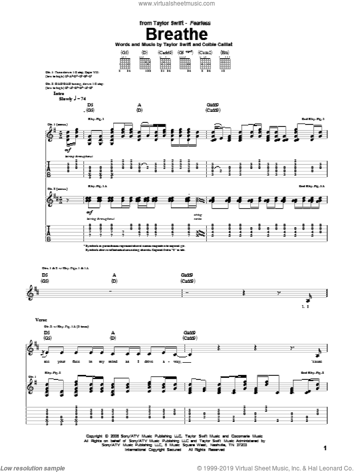 Breathe sheet music for guitar (tablature) by Taylor Swift and Colbie Caillat, intermediate skill level