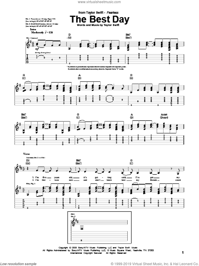 The Best Day sheet music for guitar (tablature) by Taylor Swift. Score Image Preview.