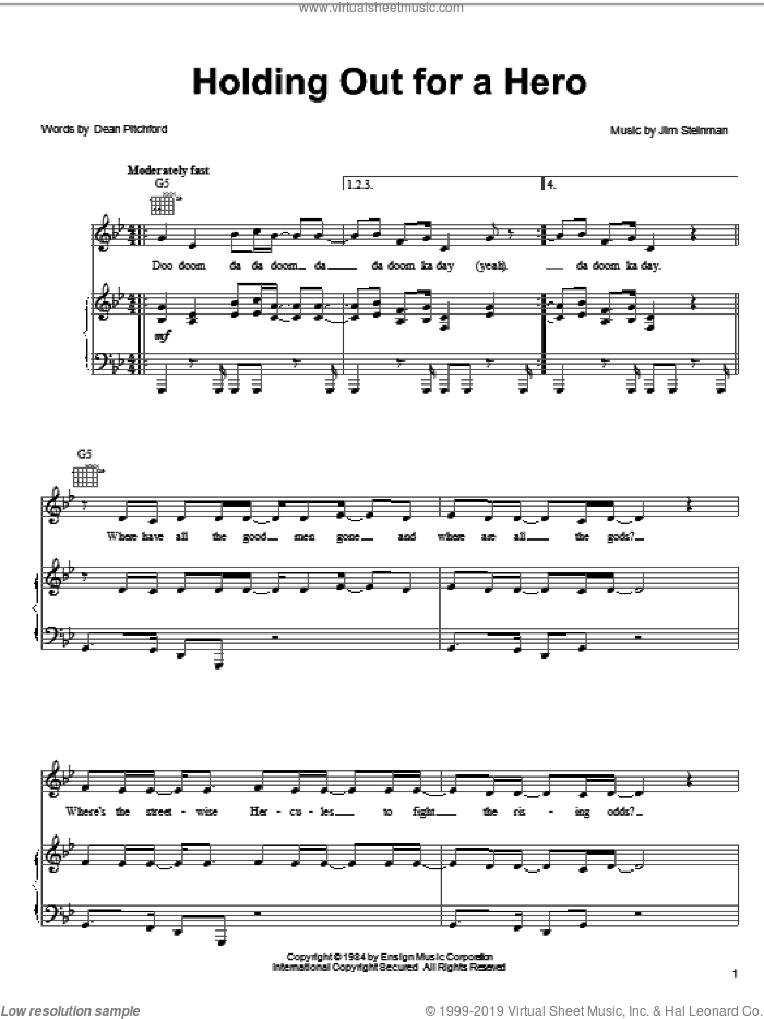 Holding Out For A Hero sheet music for voice, piano or guitar by Frou Frou, Bonnie Tyler, Dean Pitchford and Jim Steinman, intermediate. Score Image Preview.
