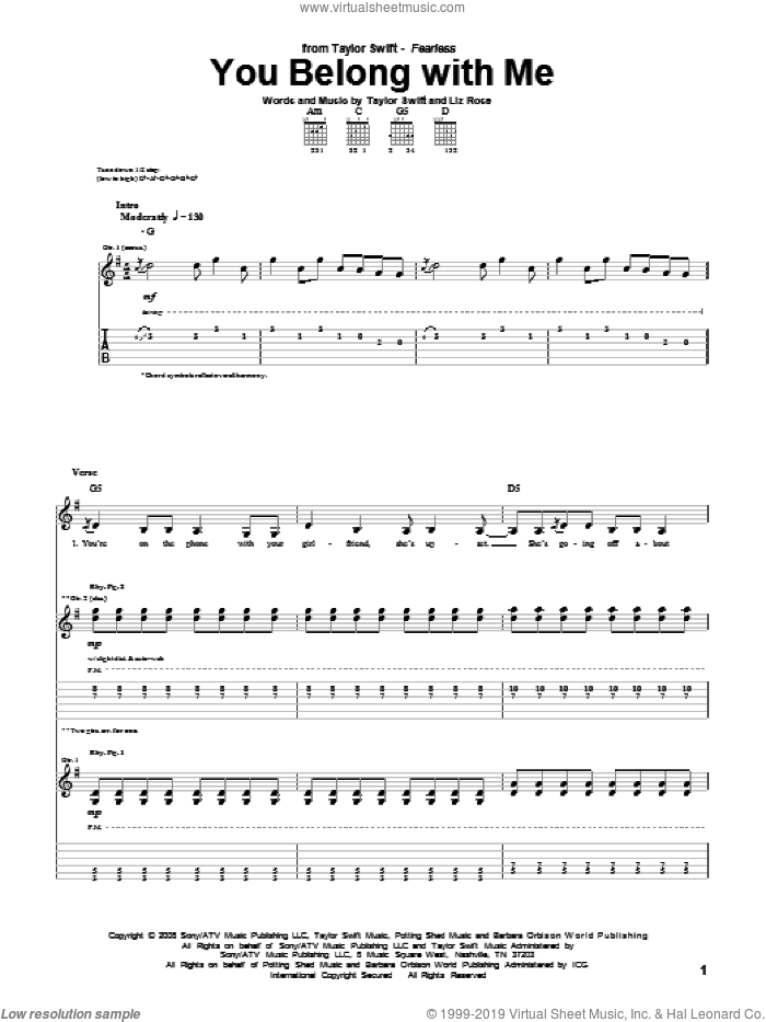 You Belong With Me sheet music for guitar (tablature) by Liz Rose and Taylor Swift. Score Image Preview.