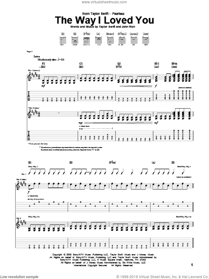 The Way I Loved You sheet music for guitar (tablature) by John Rich and Taylor Swift. Score Image Preview.