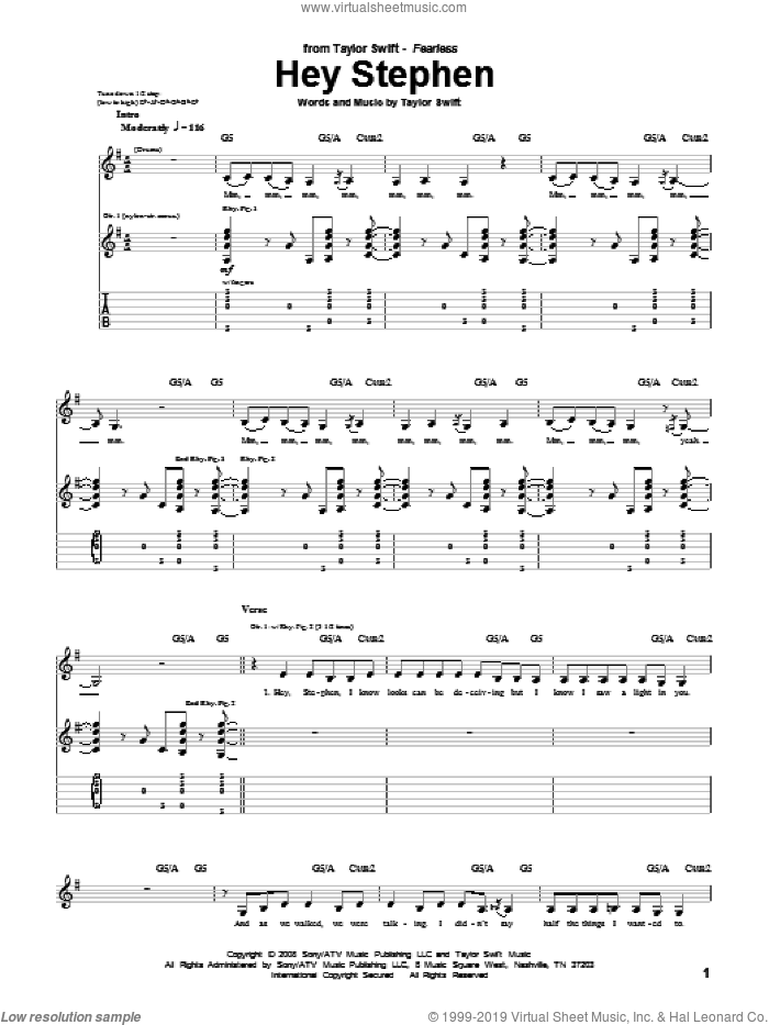 Hey Stephen sheet music for guitar (tablature) by Taylor Swift. Score Image Preview.
