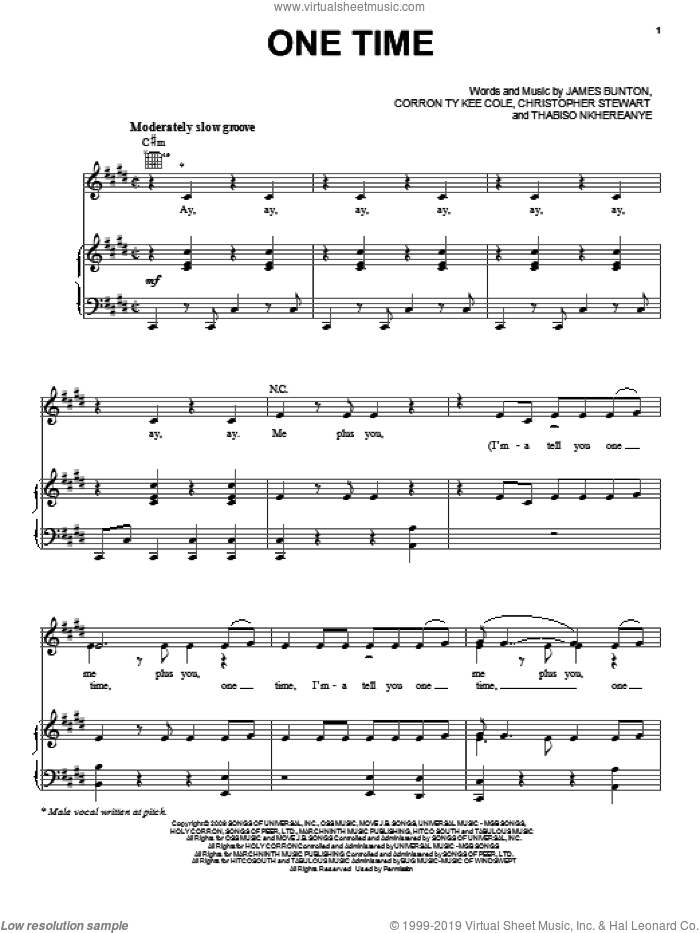 One Time sheet music for voice, piano or guitar by Justin Bieber, Christopher Stewart, Corron Ty Kee Cole, James Bunton and Thabiso Nkhereanye, intermediate skill level