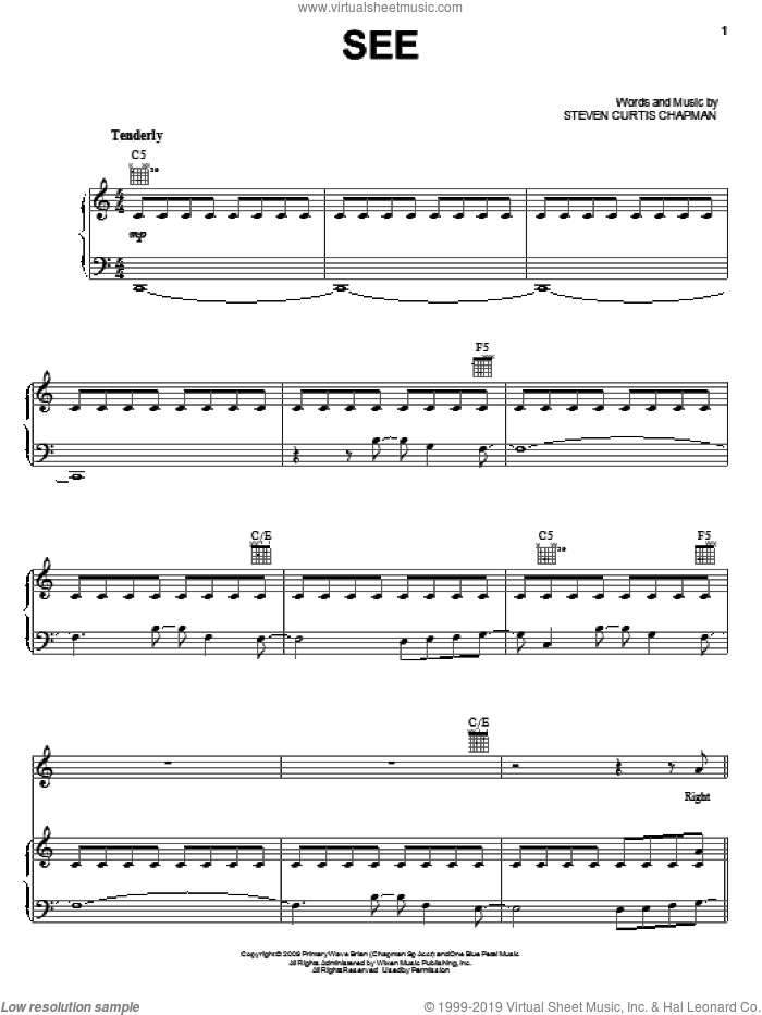 SEE sheet music for voice, piano or guitar by Steven Curtis Chapman. Score Image Preview.