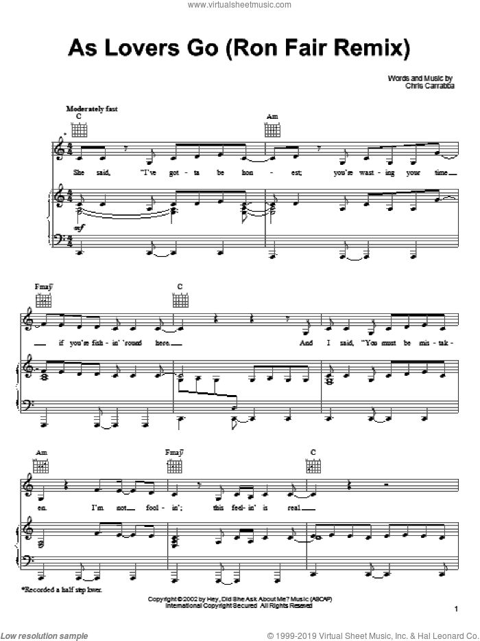 As Lovers Go sheet music for voice, piano or guitar by Chris Carrabba