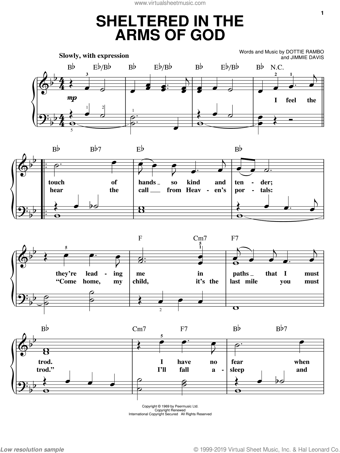 Sheltered In The Arms Of God sheet music for piano solo by Dottie Rambo and Jimmie Davis, easy skill level