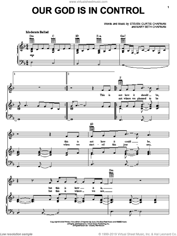 Our God Is In Control sheet music for voice, piano or guitar by Steven Curtis Chapman and Mary Beth Chapman, intermediate skill level