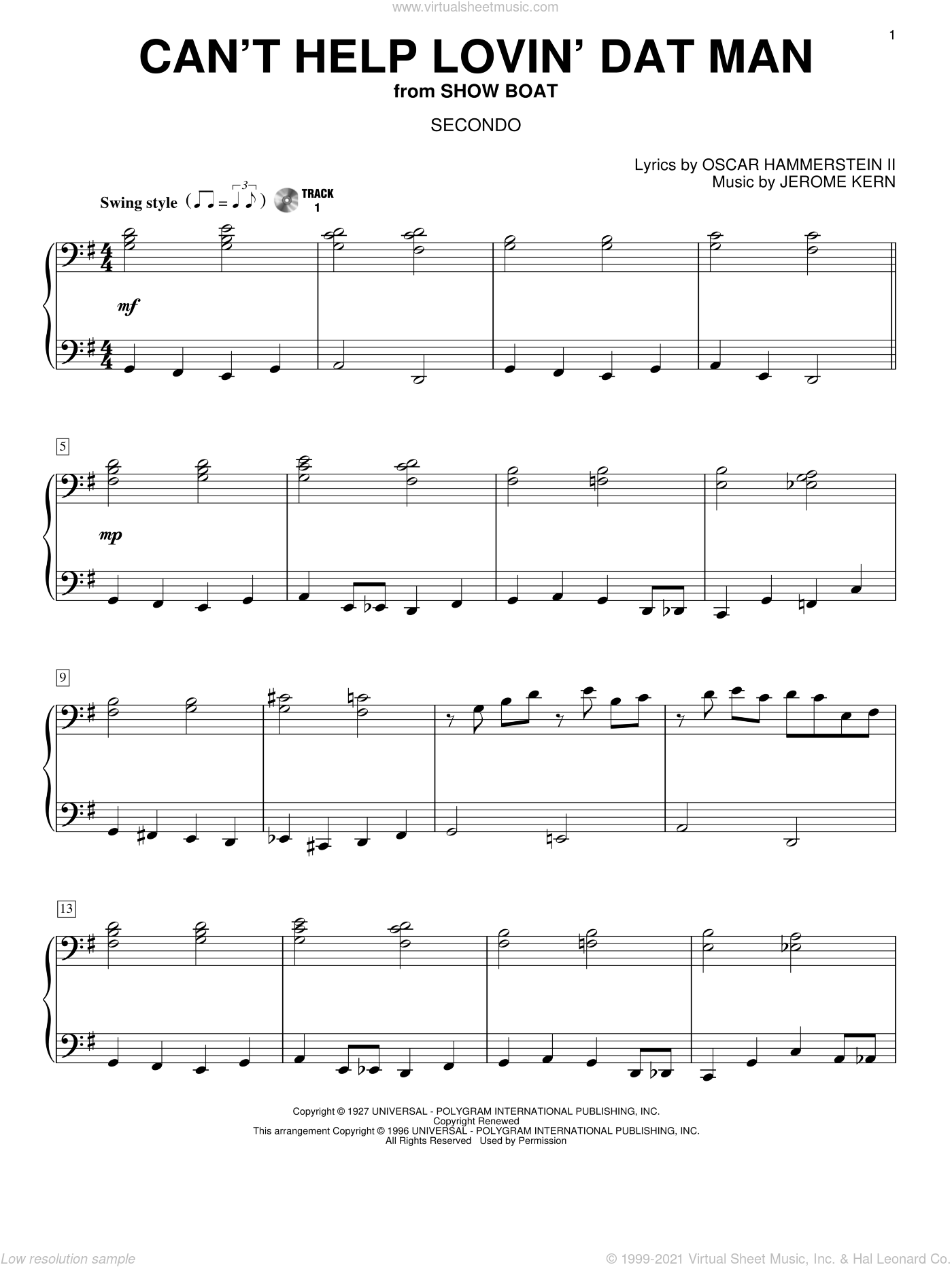Can't Help Lovin' Dat Man sheet music for piano four hands (duets) by Oscar II Hammerstein