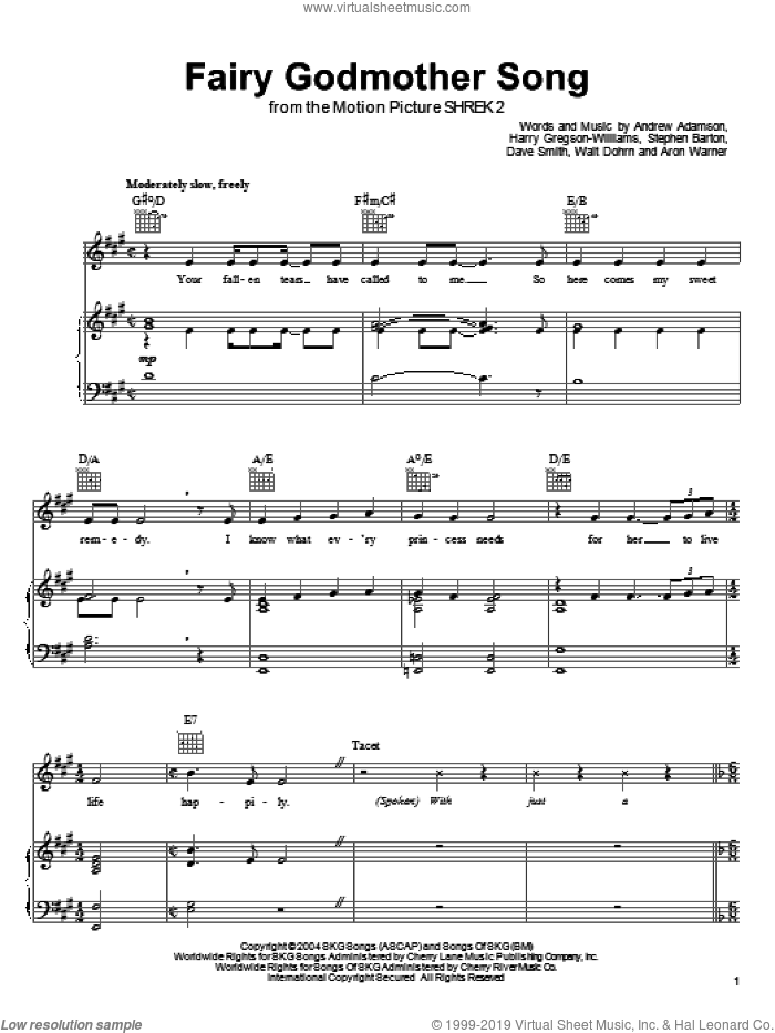 Fairy Godmother Song sheet music for voice, piano or guitar by Jennifer Saunders and Harry Gregson-Williams. Score Image Preview.