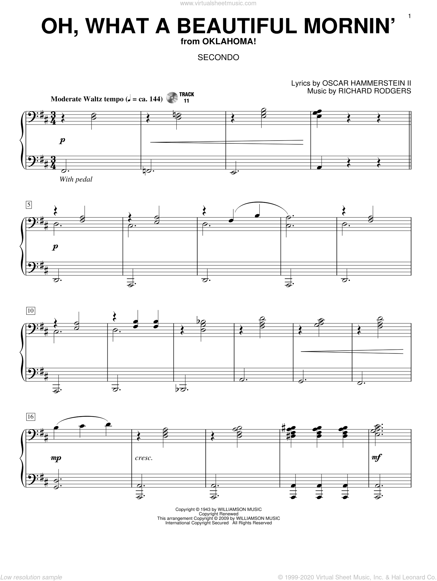 Oh, What A Beautiful Mornin' sheet music for piano four hands by Rodgers & Hammerstein, Oscar II Hammerstein and Richard Rodgers, intermediate. Score Image Preview.