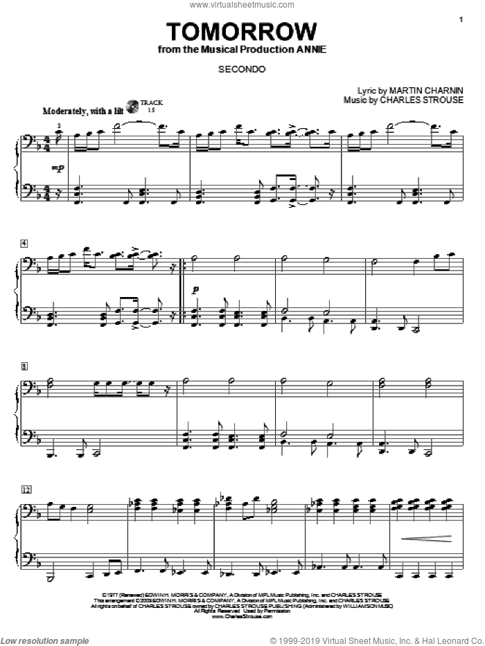 Tomorrow sheet music for piano four hands (duets) by Martin Charnin and Charles Strouse