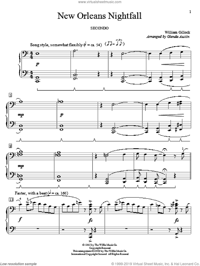 New Orleans Nightfall sheet music for piano four hands by William Gillock and Glenda Austin, intermediate skill level