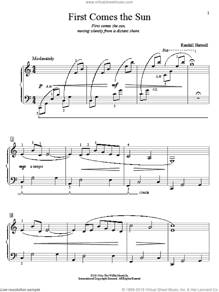 First Comes The Sun sheet music for piano solo (elementary) by Randall Hartsell, beginner piano (elementary). Score Image Preview.