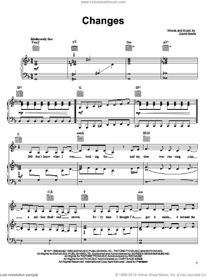 Changes sheet music for voice, piano or guitar by David Bowie. Score Image Preview.
