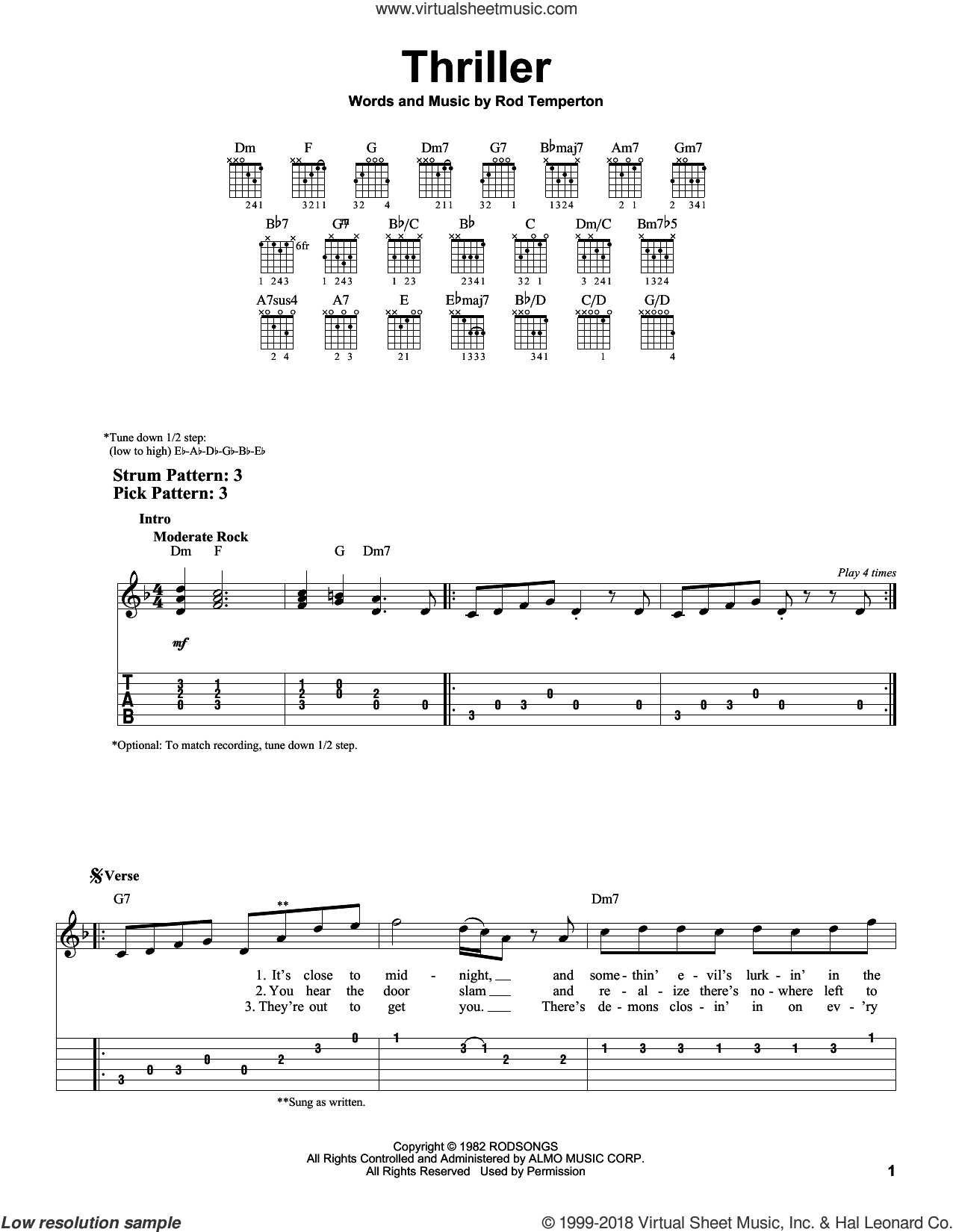 Thriller sheet music for guitar solo (easy tablature) by Michael Jackson and Rod Temperton, easy guitar (easy tablature). Score Image Preview.