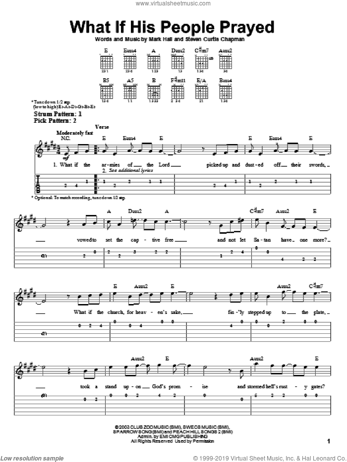 What If His People Prayed sheet music for guitar solo (easy tablature) by Casting Crowns, Mark Hall and Steven Curtis Chapman, easy guitar (easy tablature)