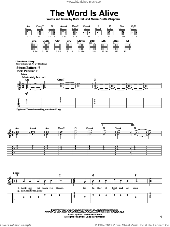 The Word Is Alive sheet music for guitar solo (easy tablature) by Mark Hall