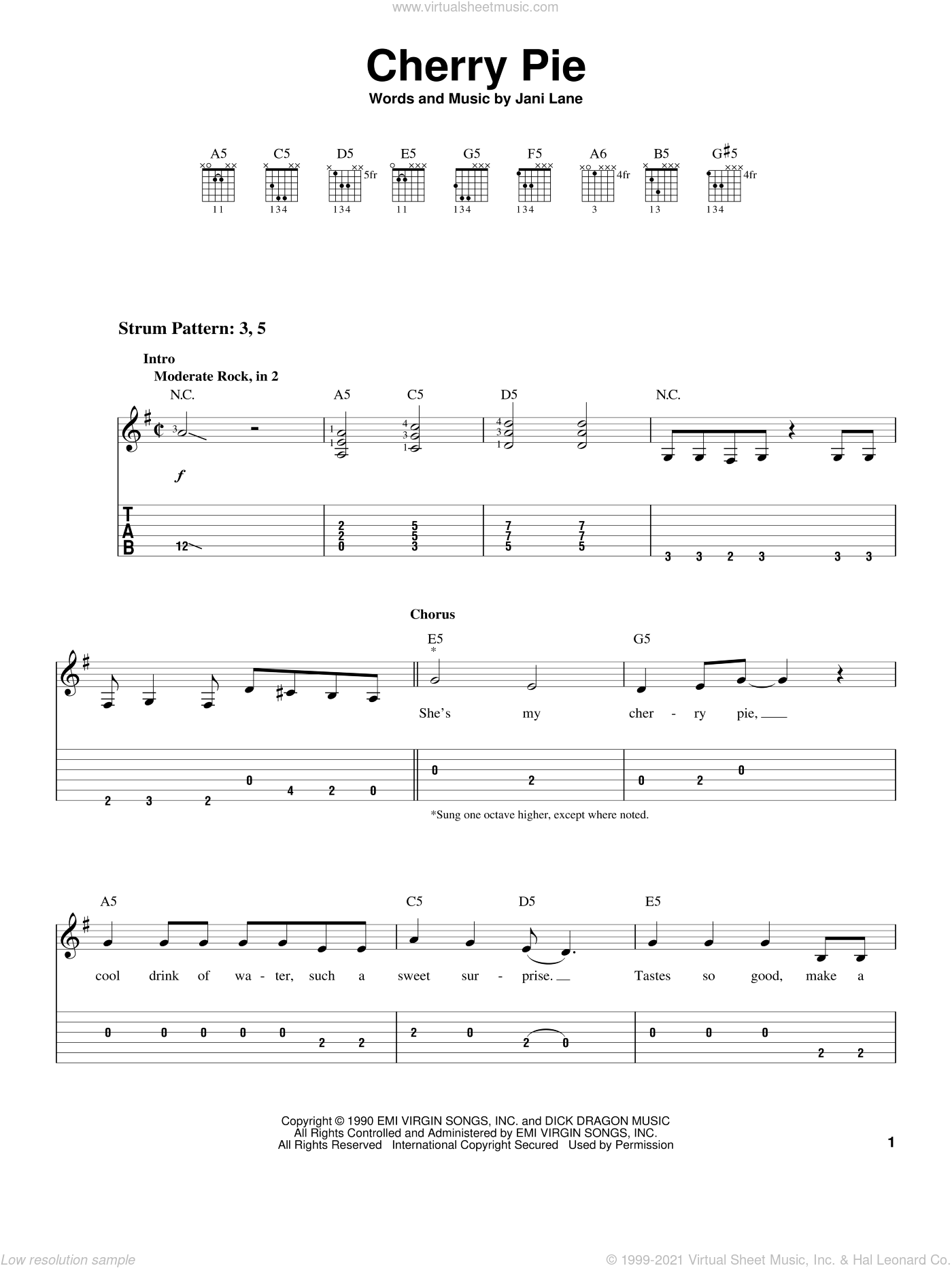 Cherry Pie sheet music for guitar solo (easy tablature) by Jani Lane. Score Image Preview.